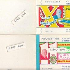 Coleccionismo deportivo: CÁDIZ.2 CARPETILLAS CON DIFERENTES INVITACIONES DEL TROFEO CARRANZA 1964-1965.. Lote 150481270
