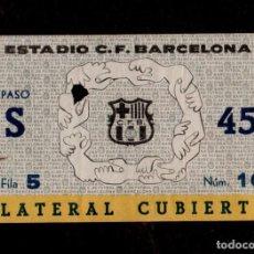 Coleccionismo deportivo: 0271 - ENTRADA ESTADIO C.F. BARCELONA LATERAL CUBIERTA PASO S - FILA 5 NÚM 14 (AÑOS 50S-60S). Lote 150847810