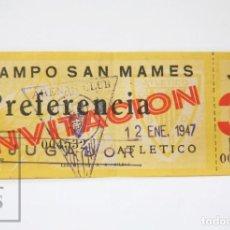 Coleccionismo deportivo: INVITACIÓN PREFERENCIA JUGADOR ARENAS CLUB DE GETXO - ATLÉTICO BILBAO, SAN MAMÉS AÑO 1947 - #E01. Lote 151941794