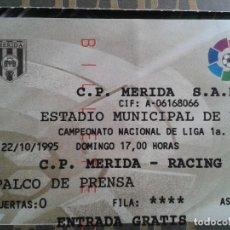 Coleccionismo deportivo: ENTRADAS FUTBOL HISTORICAS ; 1 DIVISION TEMPORADA 1995- 1996 // CP MERIDA. Lote 153929810