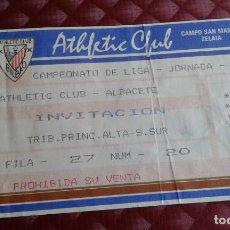 Coleccionismo deportivo: ATLETICH CLUB -ALBACETE ENTRADA TIKET SAN MAMES 1992. Lote 154722038
