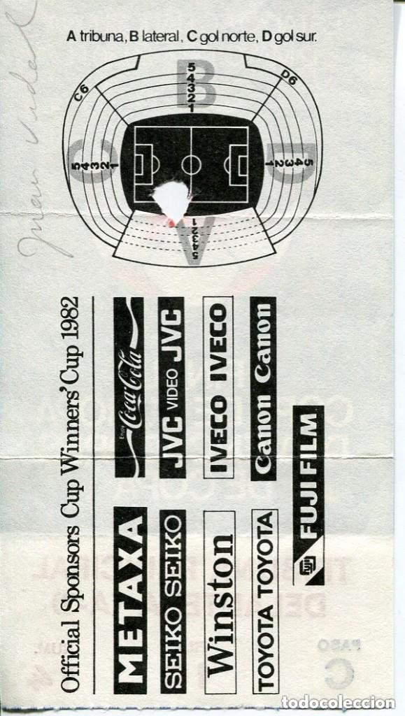Coleccionismo deportivo: F.C. BARCELONA-ENTRADA FINAL COPA DE EUROPA DE VENCEDORES DE COPA-1982- -TRIBUNA PRINCIPAL - Foto 2 - 155672558