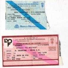 Coleccionismo deportivo: DOS ENTRADAS FUTBOL. EL MOLINON. 1991 / 1992 / 1993. SPORTING GIJÓN – CADIZ. F. C. BARCELONA. . Lote 155814530