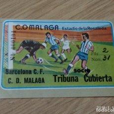 Coleccionismo deportivo: ENTRADA DE FUTBOL DE 1973 DEL C.D. MALAGA CONTRA BARCELONA, EN LA ROSALEDA, TRIBUNA CUBIERTA. Lote 155819278