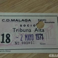 Coleccionismo deportivo: ANTIGUA ENTRADA C.D. MALAGA TRIBUNA ALTA , 2 MAYO 1971. Lote 155819590
