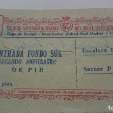 Coleccionismo deportivo: ENTRADA SEMIFINAL II COPA DE EUROPA. REAL MADRID MANCHESTER UNITED. AÑO 1957. Lote 156883578