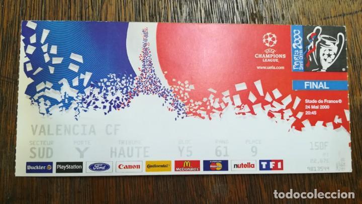 ENTRADA TICKET FINAL CHAMPIONS 24 MAYO 2000 REAL MADRID 3 VALENCIA 0. STADE DE FRANCE (Coleccionismo Deportivo - Documentos de Deportes - Entradas de Fútbol)