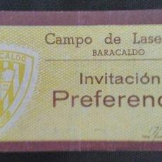 Coleccionismo deportivo: ENTRADA FUTBOL BARACALDO CASTELLON 1949. Lote 159503872