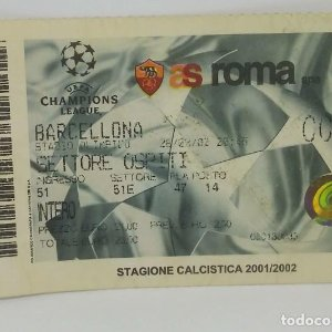 2002 Entrada original Champion League 2001/2002 Stadio olimpico. Roma - F.C.Barcelona 11,5x7,5cm