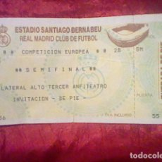 Collezionismo sportivo: SEMIFINAL EUROPA COMPETICION REAL MADRID ENTRADA USADA ORIGINAL. Lote 164108682