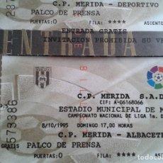 Coleccionismo deportivo: LOTE ENTRADAS FUTBOL CP MERIDA 1995- 1996 1 DIVISION - 5 PARTIDOS. Lote 165334826