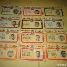 Coleccionismo deportivo: LOTE DE 12 ENTRADAS - R.C.D.ESPAÑOL - AÑOS 50 . Lote 166717422