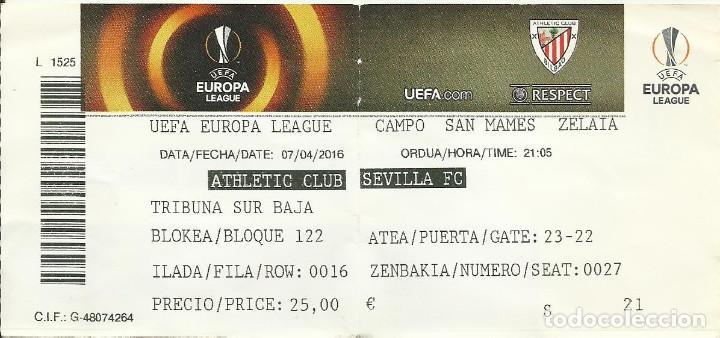 ENTRADA TICKET FUTBOL ATHLETIC BILBAO-SEVILLA 15-16 EUROPA LEAGUE (Coleccionismo Deportivo - Documentos de Deportes - Entradas de Fútbol)