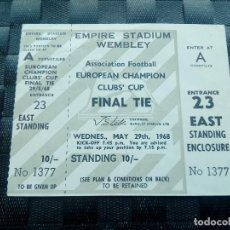 Coleccionismo deportivo: ENTRADA ENTERA TICKET BENFICA V MANCHESTER UNITED 1968 FINAL COPA CAMPEONES EUROPA . Lote 168232308
