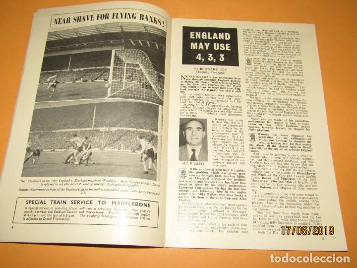 Coleccionismo deportivo: Antiguo Programa Oficial del Partido de Futbol INGLATERRA & ESCOCIA en Wembley 10 de Abril Año 1965 - Foto 3 - 168639096