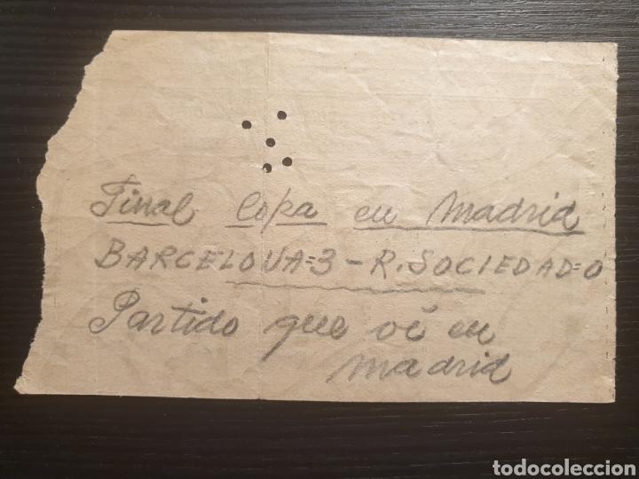 Coleccionismo deportivo: Entrada final copa generalisimo 1951 fc barcelona real sociedad - Foto 2 - 168827554