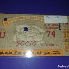 Coleccionismo deportivo: ENTRADA FC BARCELONA VS AT ATLETICO DE MADRID 24.1.1960 CAMP NOU 2-1. Lote 169841356