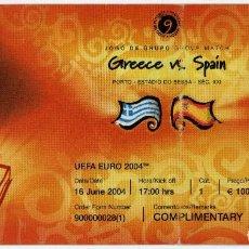Coleccionismo deportivo: ENTRADA ENTRADAS FUTBOL FOOTBALL TICKET ESPAÑA SPAIN GRECIA GREECE PORTUGAL EURO 2004 EUROCOPA. Lote 170128852
