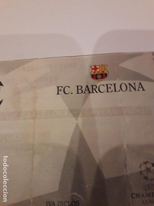 Coleccionismo deportivo: ENTRADA CHAMPIONS.F.C.BARCELONA VS BAYER DE MUNICH.1998 - Foto 2 - 170340188