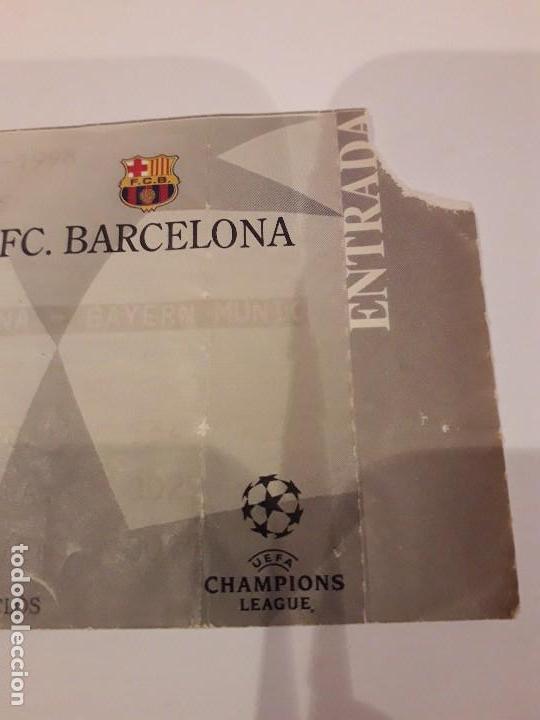 Coleccionismo deportivo: ENTRADA CHAMPIONS.F.C.BARCELONA VS BAYER DE MUNICH.1998 - Foto 4 - 170340188
