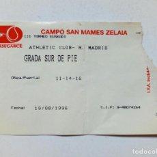 Coleccionismo deportivo: ENTRADA III TORNEO EUSKADI: ATHLETIC CLUB - REAL MADRID (19-8-1996) SAN MAMÉS, BILBAO. Lote 171570655
