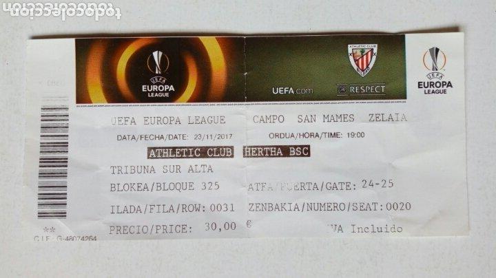 UEFA EUROPA LEAGUE: ATHLETIC CLUB - HERTHA BSC (23-11-2017) SAN MAMÉS, BILBAO. ENTRADA. (Coleccionismo Deportivo - Documentos de Deportes - Entradas de Fútbol)