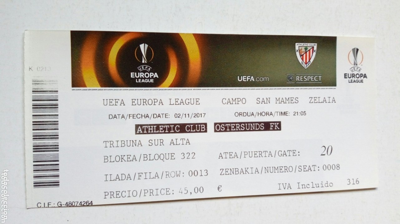 UEFA EUROPA LEAGUE: ATHLETIC CLUB - OSTERSUNDS FK (2-11-2017) SAN MAMÉS, BILBAO. ENTRADA. (Coleccionismo Deportivo - Documentos de Deportes - Entradas de Fútbol)