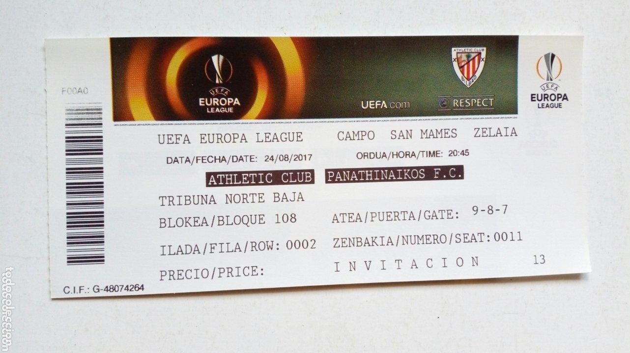 UEFA EUROPA LEAGUE: ATHLETIC CLUB - PANATHINAIKOS F.C. (24-8-2017) SAN MAMÉS, BILBAO. ENTRADA. (Coleccionismo Deportivo - Documentos de Deportes - Entradas de Fútbol)
