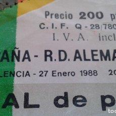 Coleccionismo deportivo: ENTRADA ESPAÑA-RDA ALEMANIA 1988 ( MUY DIFICIL DE CONSEGUIR. Lote 172472047