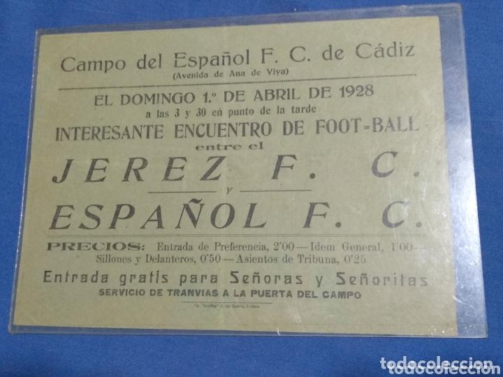 ANTIGUA PUBLICIDAD 1928 FUTBOL JEREZ C.F. Y ESPAÑOL C.F. EN CADIZ (Coleccionismo Deportivo - Documentos de Deportes - Entradas de Fútbol)