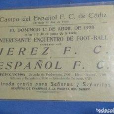 Collectionnisme sportif: ANTIGUA PUBLICIDAD 1928 FUTBOL JEREZ C.F. Y ESPAÑOL C.F. EN CADIZ. Lote 173817774