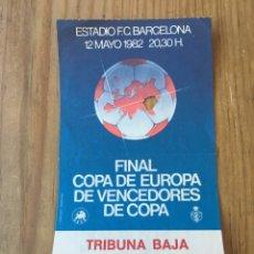 Coleccionismo deportivo: R6638 ENTRADA TICKET FINAL RECOPA 1982 BARCELONA STANDARD LIEJA LIEGE. Lote 173838749