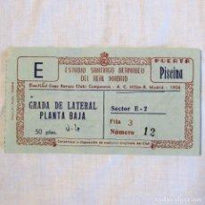Coleccionismo deportivo: ENTRADA REAL MADRID A.C. MILÁN, SEMIFINAL COPA DE EUROPA CLUBS CAMPEONES 1956. Lote 174413080
