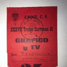 Coleccionismo deportivo: PASE DE PRENSA Y TELEVISION. TROFEO CARRANZA, 1991. . Lote 175023273