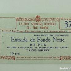 Coleccionismo deportivo: ENTRADA DE AÑO 1956 DE SEMIFINAL CHAMPIONS REAL MADRID A.C.MILAN TICKET ORIGINAL. Lote 175086997