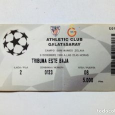 Coleccionismo deportivo: ENTRADA CHAMPIONS LEAGUE: ATHLETIC CLUB - GALATASARAY (9-12-1998) SAN MAMÉS, BILBAO UEFA. Lote 175342788