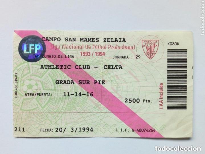 ENTRADA: ATHLETIC CLUB - CELTA (ESTADIO SAN MAMÉS 20 - MARZO - 1994) BILBAO (Coleccionismo Deportivo - Documentos de Deportes - Entradas de Fútbol)