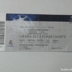 Coleccionismo deportivo: ANTIGUA ENTRADA PARTIDO DE CHAMPIONS 10/10/2010 - REAL MADRID - MILAN AC - SANTIAGO BERNABEU - EN BU. Lote 175860507