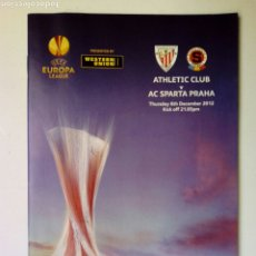 Coleccionismo deportivo: PROGRAMA OFICIAL: ATHLETIC CLUB - AC SPARTA PRAHA - UEFA EUROPA LEAGUE 2012. Lote 175928873
