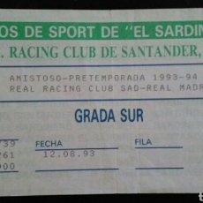 Coleccionismo deportivo: ENTRADA FUTBOL RACING REAL MADRID TROFEO CIUDAD DE SANTANDER 1993. Lote 176978400