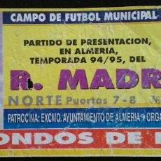 Coleccionismo deportivo: ENTRADA FUTBOL REAL MADRID KARLSRUHER 1995. Lote 176979685