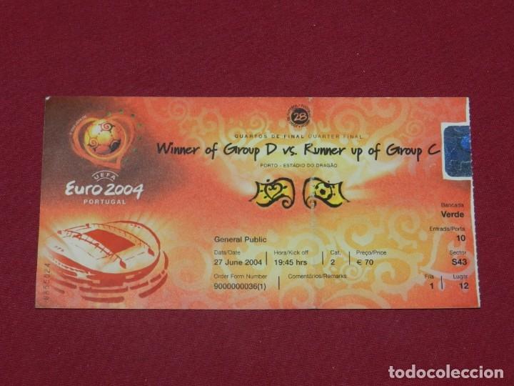 ENTRADA DE FUTBOL EUROCOPA EURO 2004 PORTUGAL 27 JUNE 2004 REPUBLICA CHECA - DINAMARCA (Coleccionismo Deportivo - Documentos de Deportes - Entradas de Fútbol)