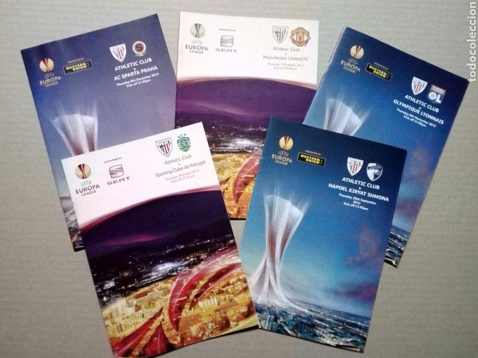 LOTE 5 PROGRAMAS OFICIALES - ATHLETIC CLUB - UEFA EUROPA LEAGUE 2012 - SAN MAMÉS, BILBAO (Coleccionismo Deportivo - Documentos de Deportes - Entradas de Fútbol)