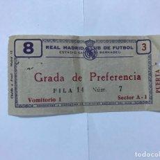 Coleccionismo deportivo: ANTIGUA ENTRADA DE FUTBOL REAL MADRID - ESTADIO S. BERNABEU, AÑOS 60. Lote 177610923