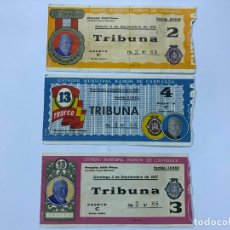 Coleccionismo deportivo: 3 ENTRADA XIII TROFEO CARRANZA FUTBOL 1967 - REAL MADRID - VASCO DE GAMA - VALENCIA - PEÑAROL, FINAL. Lote 177611618