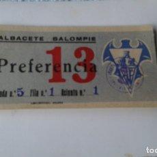 Coleccionismo deportivo: ENTRADA CAMPO ALBACETE BALOMPIE 1950 CONTRA HERCULES . Lote 178156127