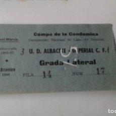 Coleccionismo deportivo: ENTRADA CAMPO LA CONDOMINA 1966-67 U.D.ALBACETE -IMPERIAL C.F. 3º DIV.. Lote 178156459