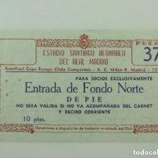 Coleccionismo deportivo: ENTRADA DE AÑO 1956 DE SEMIFINAL CHAMPIONS REAL MADRID A.C.MILAN TICKET ORIGINAL. Lote 178270122
