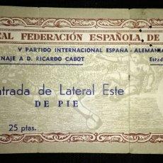 Coleccionismo deportivo: ENTRADA FÚTBOL ESPAÑA ALEMANIA 1952. Lote 178370597