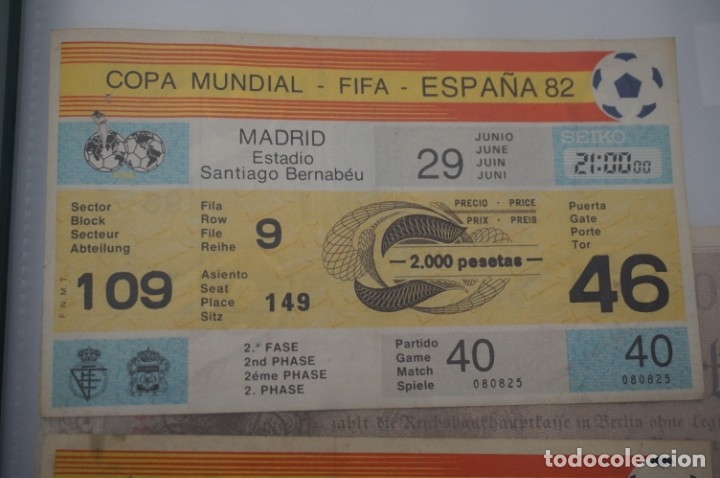 ENTRADA COPA MUNDIAL FIFA ESPAÑA 82 SIN CORTAR / SANTIAGO BERNABEU 29 JUNIO / 2º FASE (Coleccionismo Deportivo - Documentos de Deportes - Entradas de Fútbol)